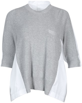Sacai Grey And White Crew Neck Top