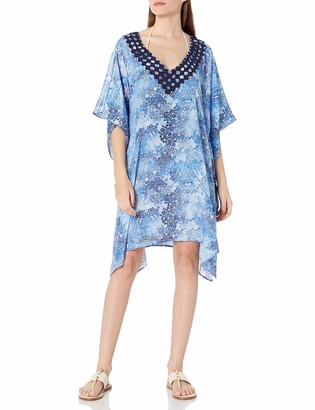 Gottex Women's Embroidered V-Neck Tunic Swimsuit Cover Up