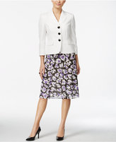 Le Suit Three-Button Floral-Print Skirt Suit