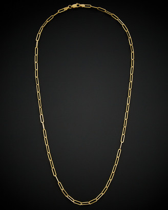 Italian Gold 14K Polished Paperclip Chain Necklace