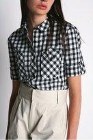 Plaid Buttonfront Boyfriend Shirt
