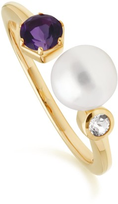 Gemondo Modern Pearl, Amethyst & Topaz Open Ring In Gold