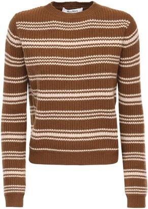 Max Mara Striped Wool & Cashmere Rib Knit Sweater