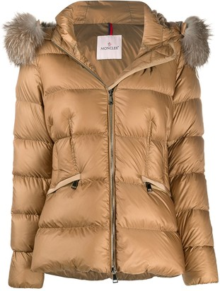 Moncler Fur-Trimmed Hood Quilted Jacket
