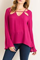 Entro Solid Flowy Blouse