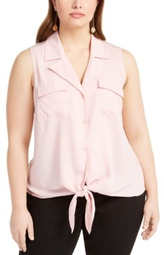 INC International Concepts Inc Plus Size Tie-Hem Sleeveless Blouse, Created for Macy's