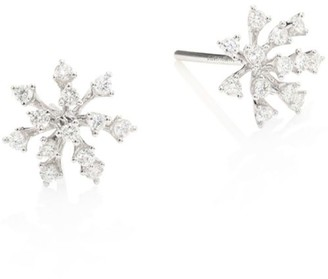 Hueb Modern Diamond & 18K White Gold Stud Earrings