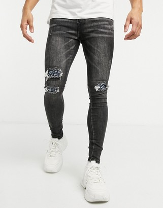 Good For Nothing skinny jeans with ripped paisley bandana knees in gray