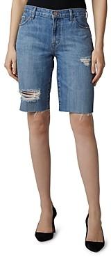 J Brand Ripped Denim Bermuda Shorts in Senska Distressed