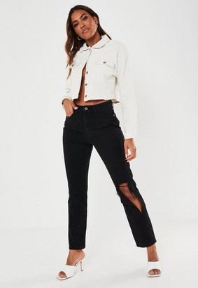 Missguided Wrath Highwaisted Torn Out Knee Jeans