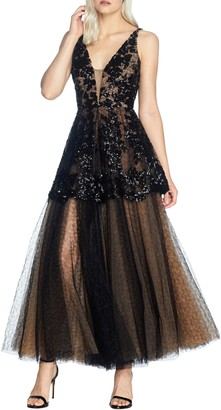 Dress the Population Rachelle Fit & Flare Lace Gown