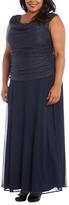 R & M Richards Navy Drape-Neck Gown - Plus Too