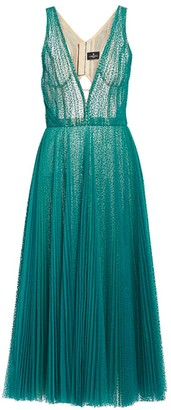 J. Mendel Swiss Dot Pleated Cocktail Dress