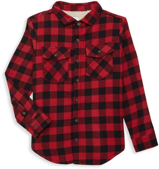 Core Life Boy's Faux Fur-Lined Checkered Shirt