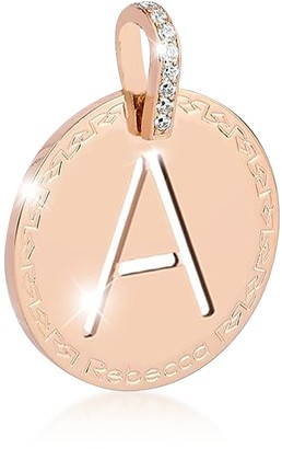 Rebecca Rose Gold-plated Bronze & Zirconia A Charm W/Rhodium-plated Necklace