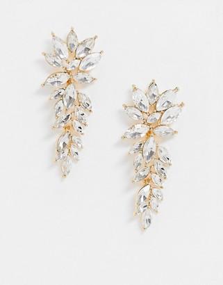 True Decadence Exclusive rhinestone leaf drop earrings in gold