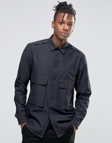 Asos Military Shirt With Double Pocket Zips In Regular Fit