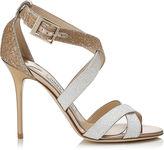 Jimmy Choo LOTTIE Optic White and Light Honey Coarse Glitter Degrade Sandals