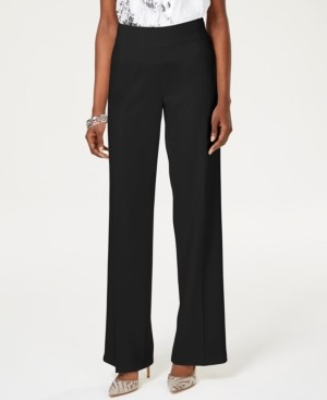 INC International Concepts Inc Wide-Leg Crepe Side Zip High Waist Pants, Created for Macy's