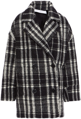 IRO Double-breasted Checked Brushed Wool-felt Coat