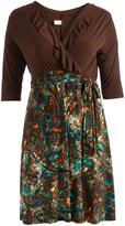 Glam Brown & Green Abstract Ruffle-Accent Wrap Dress - Plus