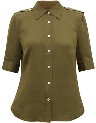 Frame Epaulette Silk-crepe Shirt - Womens - Khaki