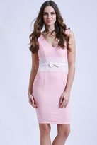 Paper Dolls Pink bodycon dress with lace middle
