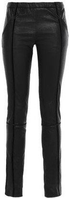Haider Ackermann Velvet-trimmed Stretch-leather Leggings