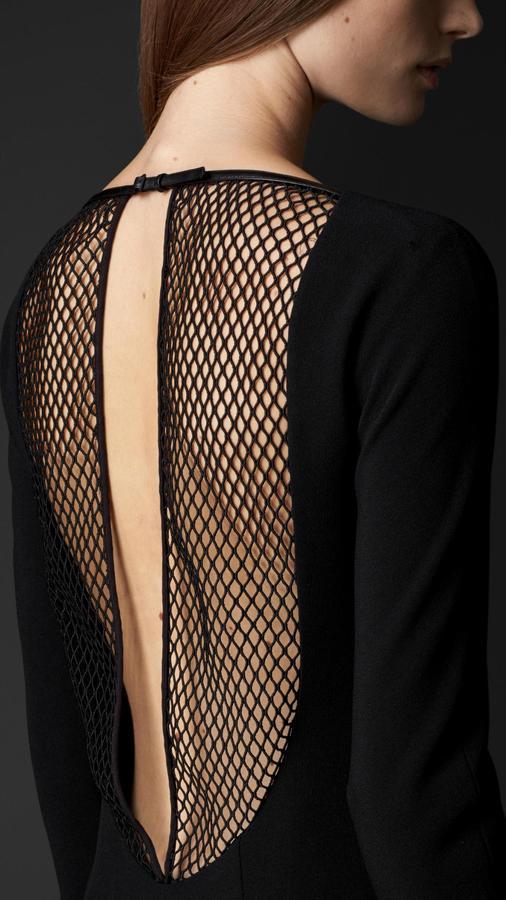 Burberry Mesh Detail Crêpe Dress