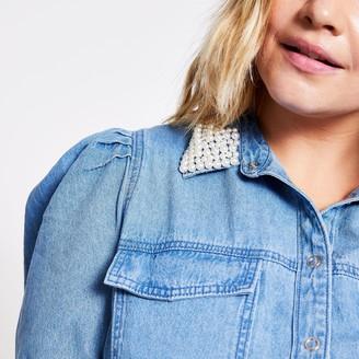 River Island Womens Plus Blue pearl collar denim shirt