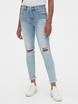 Gap High Rise Destructed True Skinny Ankle Jeans with Secret Smoothing Pockets