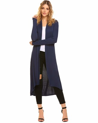 Lalala Open Front Cardigans for Women Autumn Winter Cotton Long Sleeve Waterfall Cardigan [Black M]