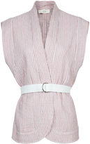 Vanessa Bruno Red Striped Quilted Cotton Waistcoat