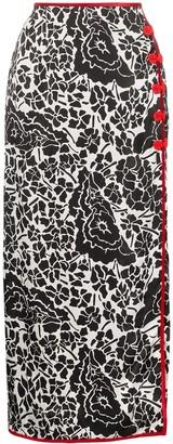 De La Vali floral printed velvet trim maxi skirt