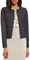 Calvin Klein Petites Luxe Stretch Dressy Denim Suiting Zip Jacket