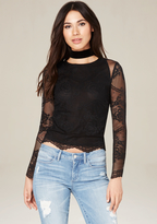 Bebe Lace & Dot Mesh Top
