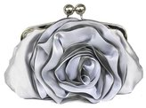 MedzRE Women's Special Occasion Wedding Flower Silk Clutch Hand Bag