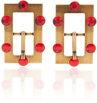 Balenciaga Buckle Crystal-Embellished Antiqued Brass Earrings