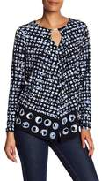 Jones New York Pullover Keyhole Patterned Blouse