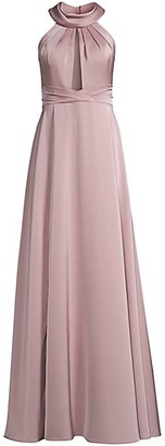 Aidan Mattox Draped Halter-Neck Gown