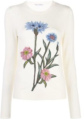 Oscar de la Renta Embroidered Floral Jumper