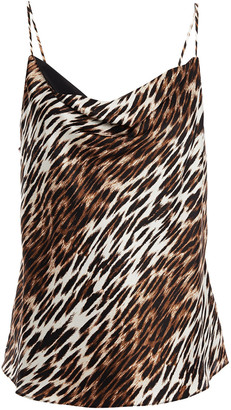 L'Agence Kay Draped Leopard-print Silk-satin Camisole