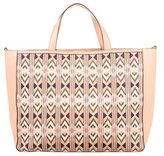 Tory Burch Embroidered Accented Leather Tote