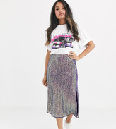 Asos DESIGN Petite sequin midi slip skirt with double split