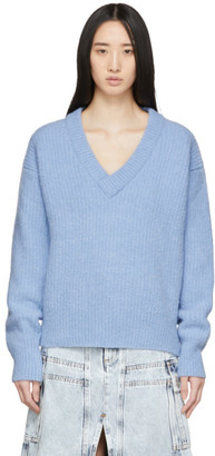 Our Legacy Blue Relaxed Fuzzy V-Neck Sweater