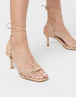Truffle Collection strappy mid heeled sandals in beige