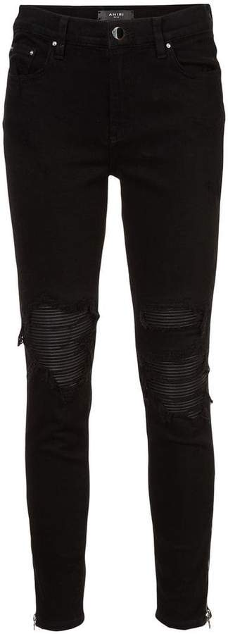 Amiri distressed skinny jeans with under layer
