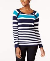Karen Scott Striped Button-Shoulder Sweater, Created for Macy's