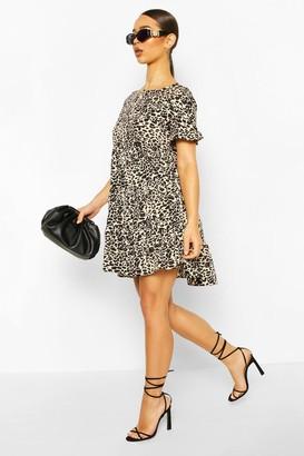boohoo Leopard Print Ruffle Sleeve Smock Dress
