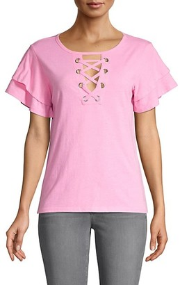 Generation Love Lace-Up Front Cotton-Blend Tee
